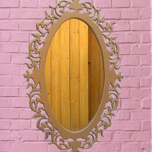 Wall MDF Wood Mirror | wall hanging mirror | Oval Shape Mirror
