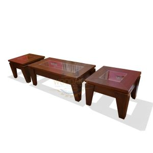 Wooden Center and Side Table set | Center Table Coffee Table | Oak Wood Look Accent Furniture