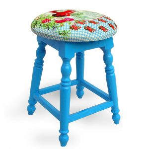 Sky Blue Wooden Stool, Foot Rest, Living Room Furniture, Kitchen Stool,Ottoman, Home Decore, Shoe Stool Ottoman Home Furniture